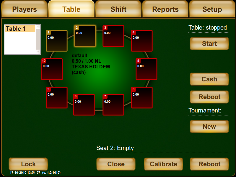 Electronic poker table software