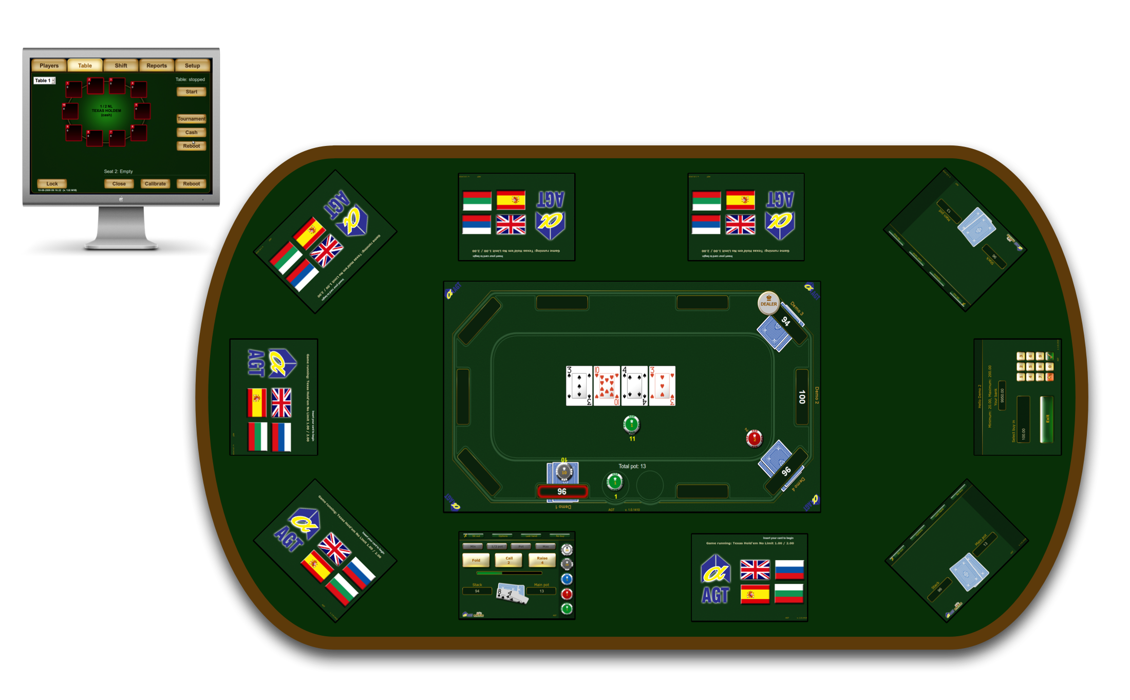 Overview of a poker table